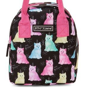 Betsey Johnson Cat Party Insulated Lunch Tote; NWT